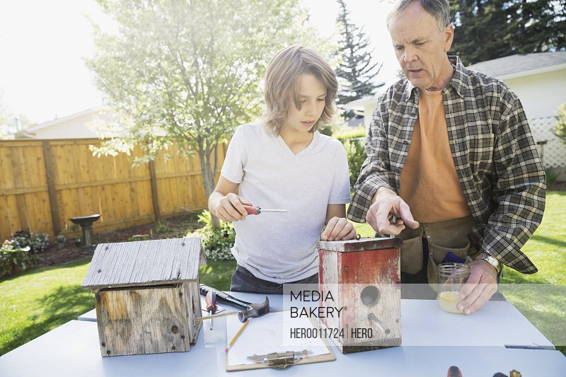 Grandfather and grandson making birdhouses in backyard