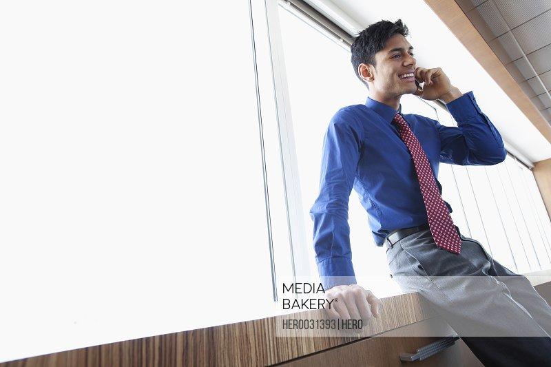 businessman in bright urban office
