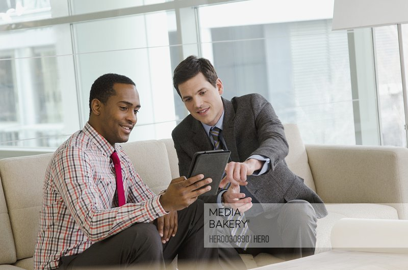 two people discussing business