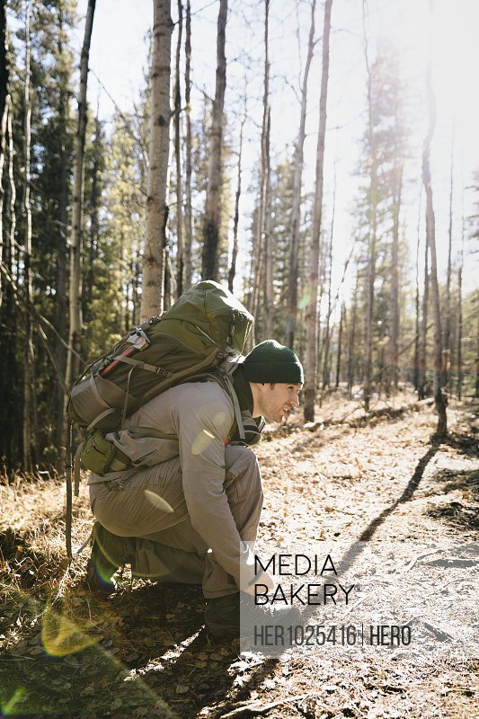 Man with backpack tying shoe, hiking in sunny woods