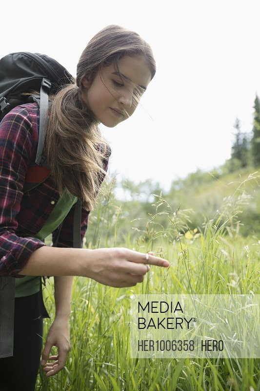 Curious teenage girl hiking, touching tall grass