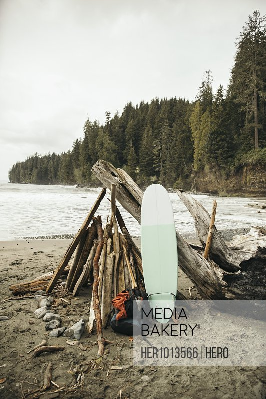Surfboard and backpack leaning on driftwood shelter on rugged beach