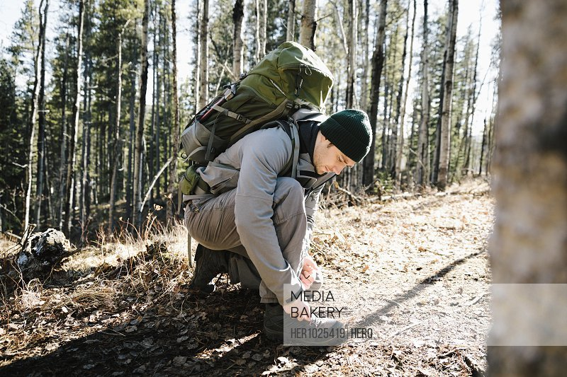 Man with backpack hiking, tying shoe in sunny woods