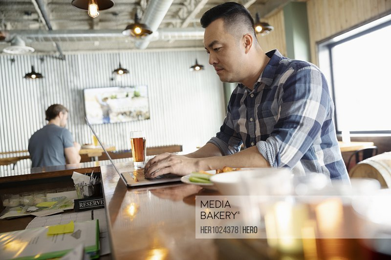 Man working at laptop in brewhouse
