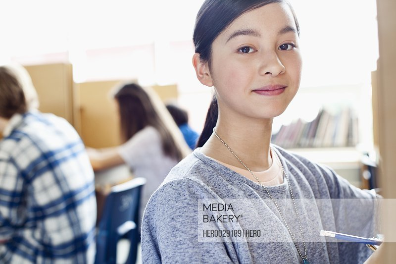 portrait of asian middle school student in class