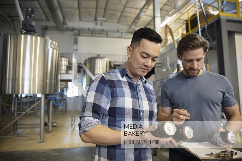 Male brewers examining beer cans in brewhouse distillery