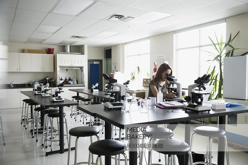 College student using microscope in science laboratory