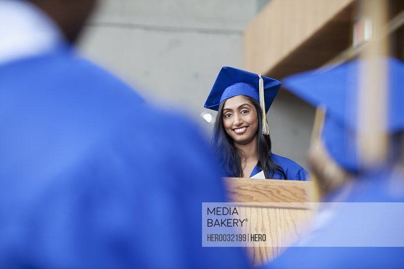 female valedictorian at convocation