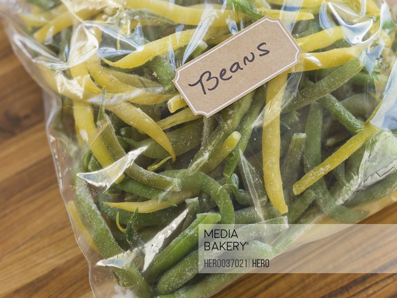 Fresh green beans in freezer bag