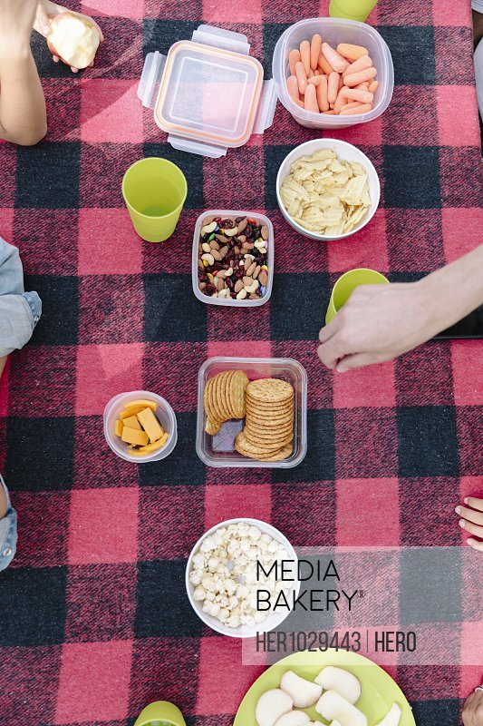 Picnic blanket with healthy food and snack, overhead view