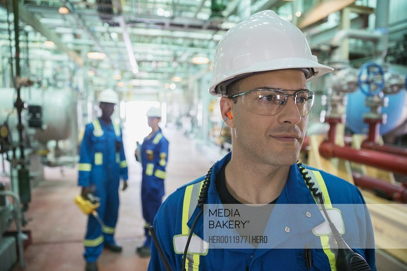 Male worker in gas plant