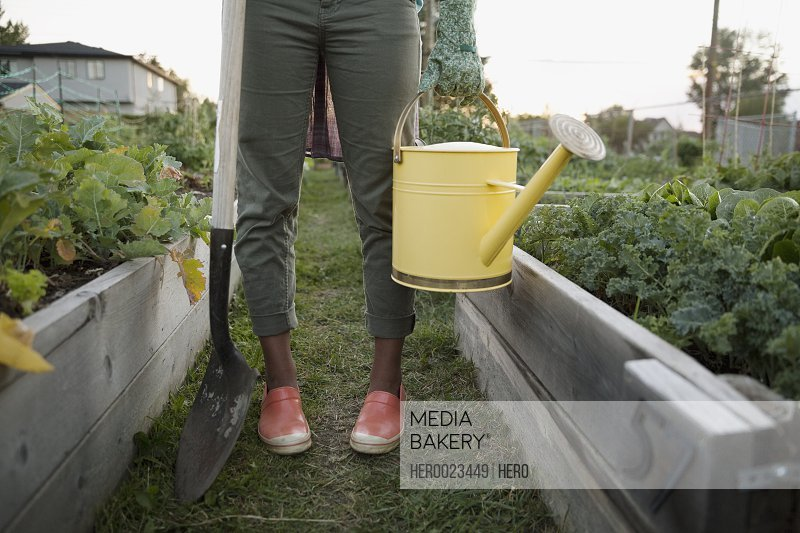Teenage girl holding watering can and shove garden