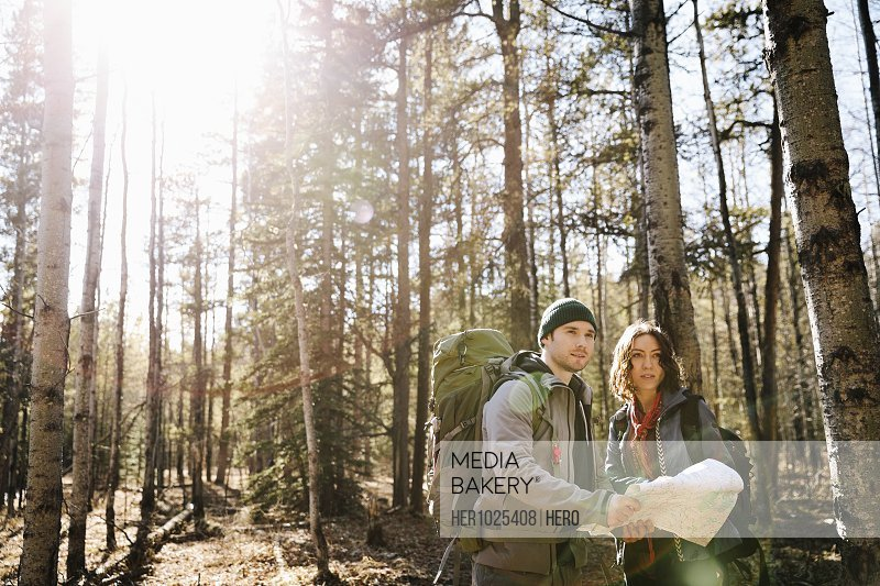 Couple with map and backpacks hiking in sunny woods