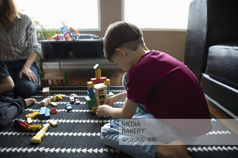 Boy playing with building block toys on living room floor
