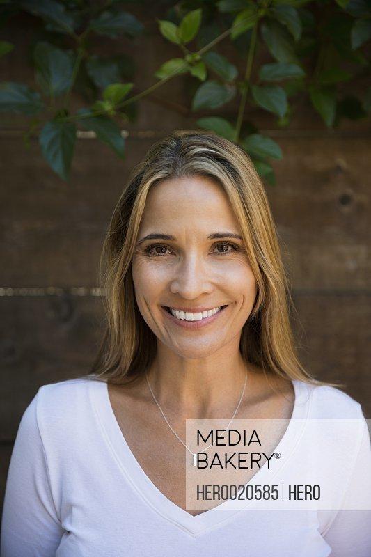 Portrait smiling blonde woman