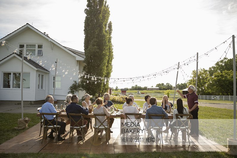 Man celebrating, toasting friends at sunny rural garden party table