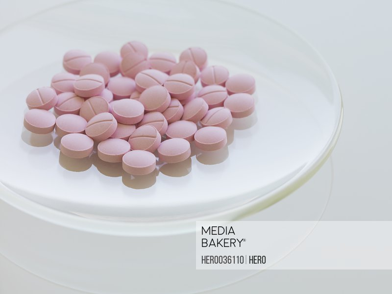 Close-up of pink tablets