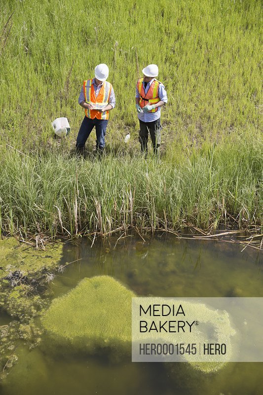 High angle view of ecologists working near riverbank
