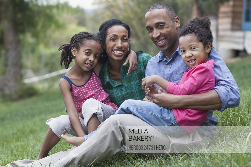 portrait of african american family of four