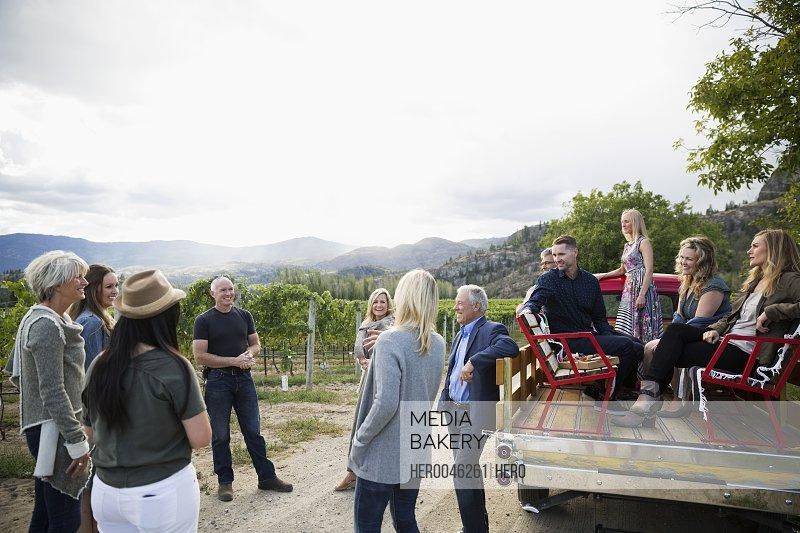 Vintner giving vineyard tour