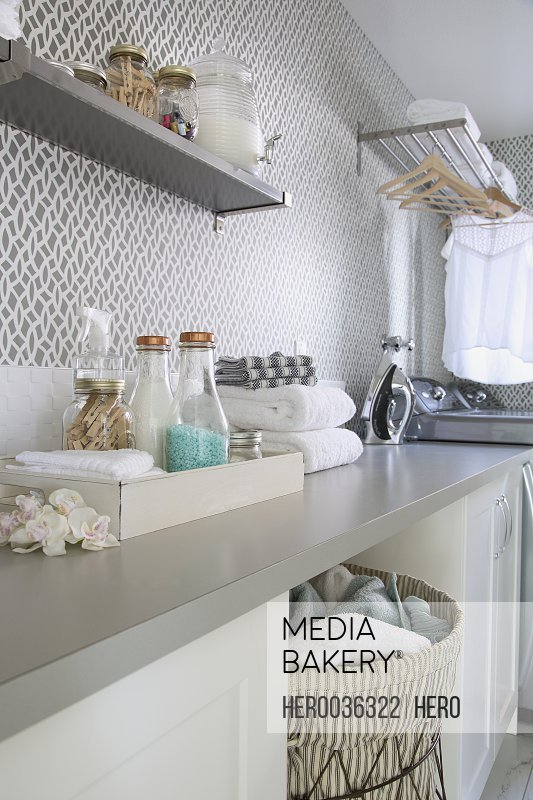 Laundry room in contemporary home
