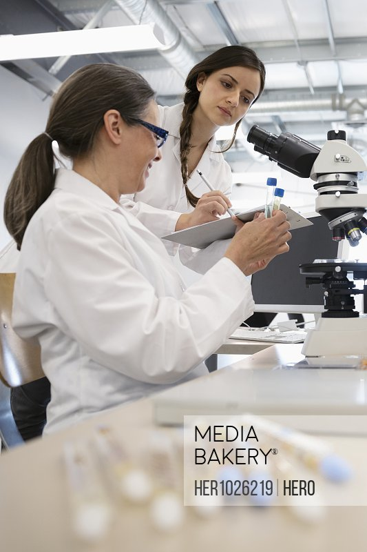 Female scientists working at microscope in laboratory