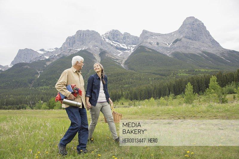 Couple having picnic in rural field