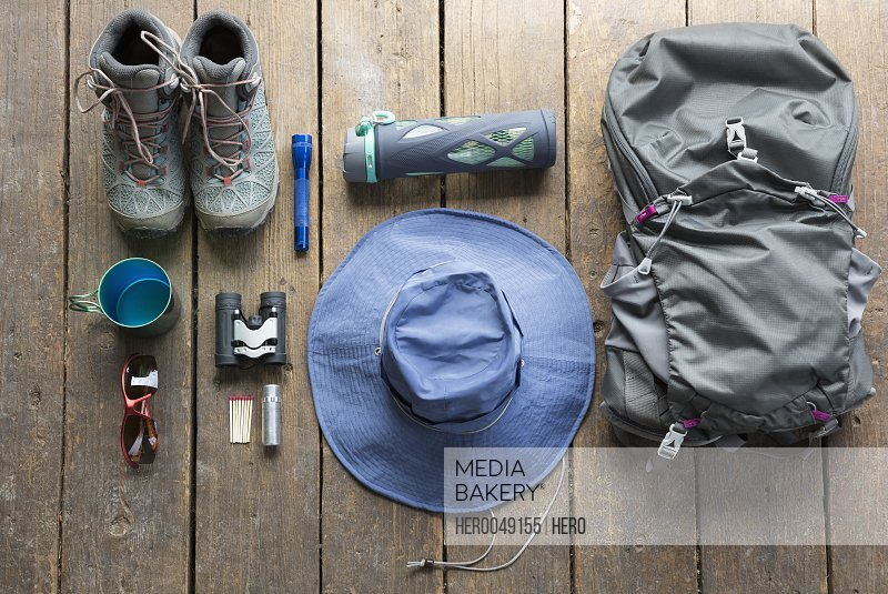 Still life hiking backpack boots and equipment