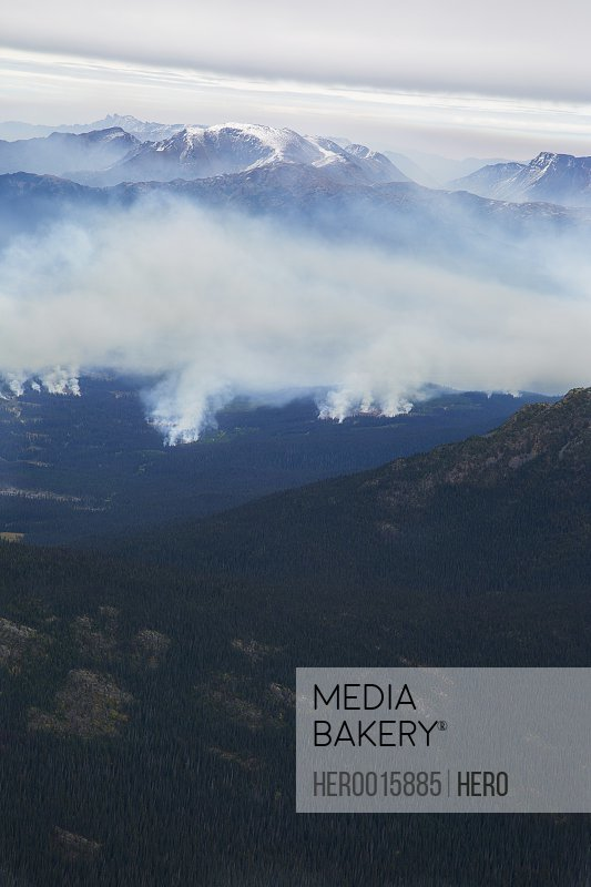 Aerial view of smoke from distant forest fires