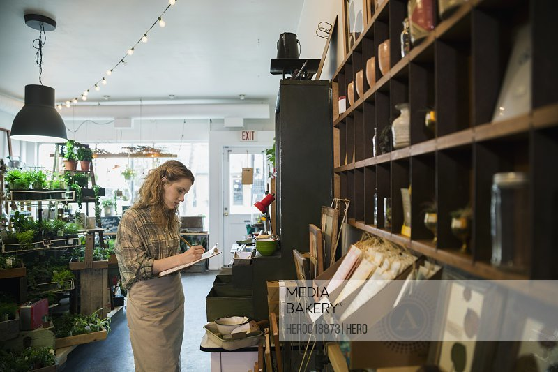 Business owner taking inventory in terrarium shop