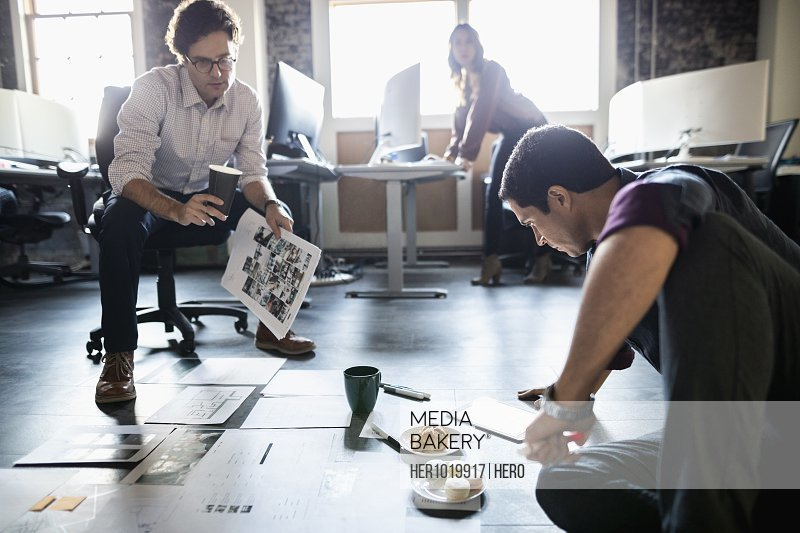 Creative businessmen reviewing proofs on office floor