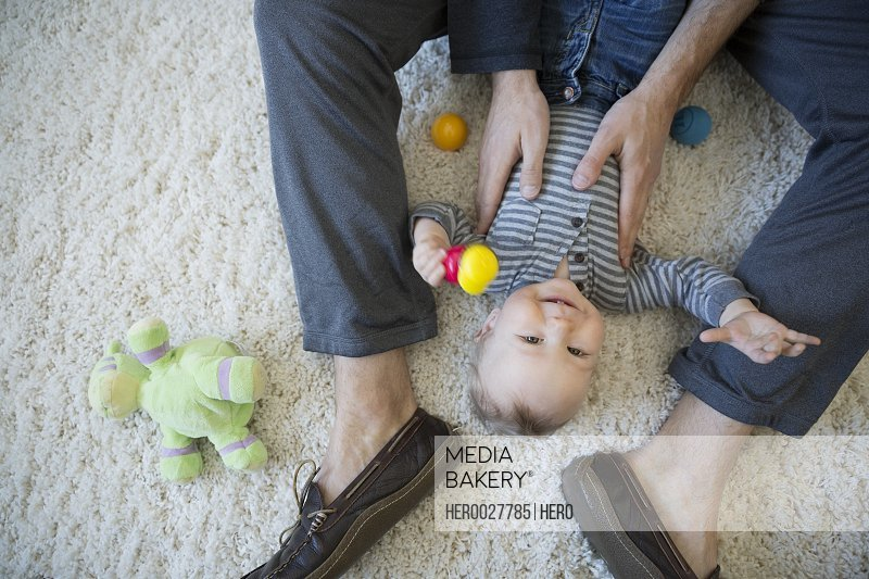 Overhead view of father playing with baby boy on carpet
