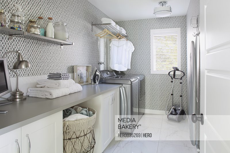 Interior of laundry room in contemporary home