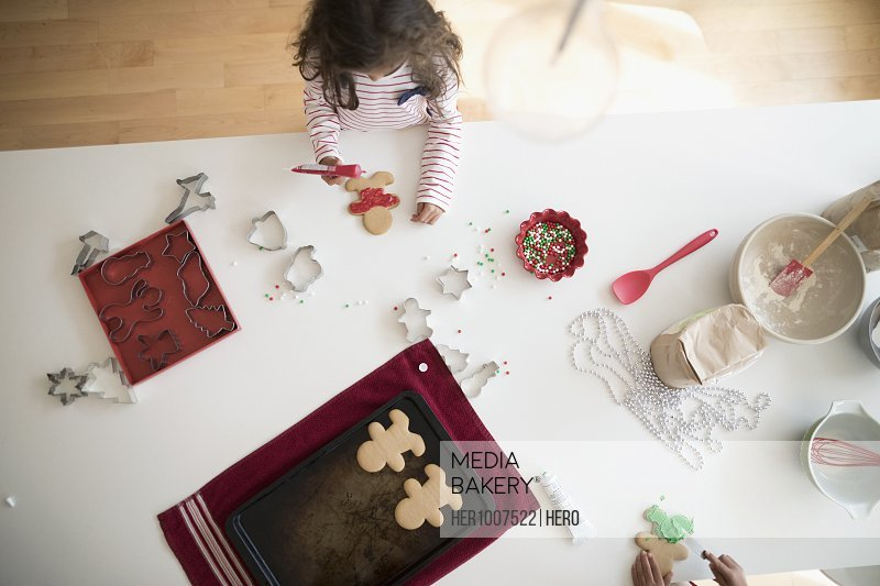Overhead view girl decorating Christmas gingerbread cookies
