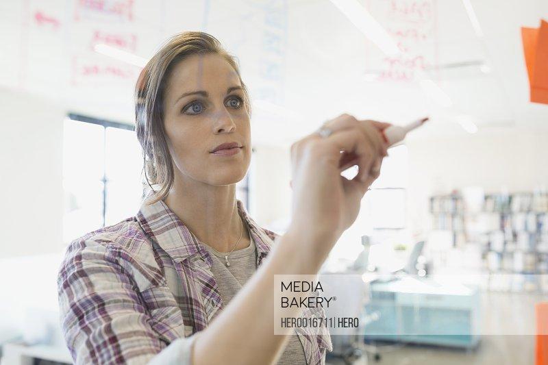 Businesswoman writing on glass