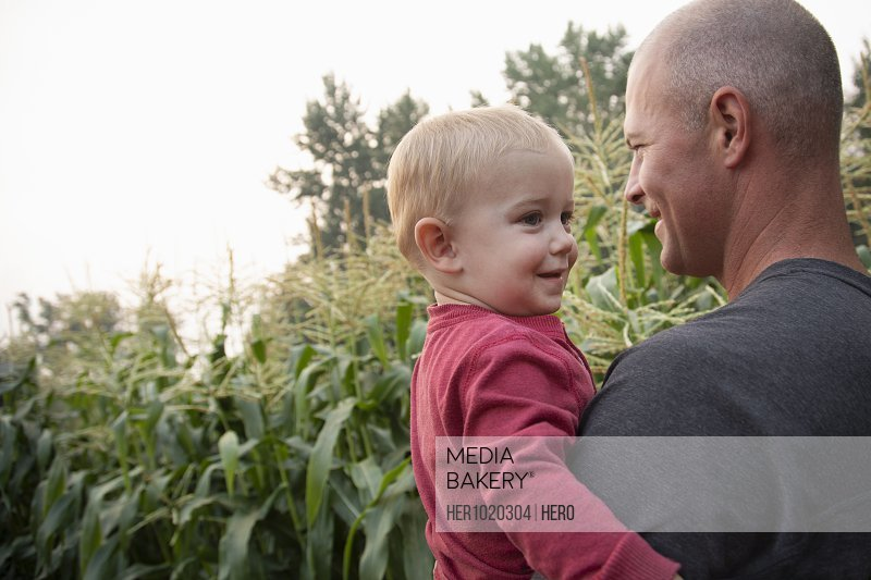 Father holding toddler son in rural corn field
