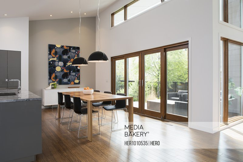 Dining table with pendant lights