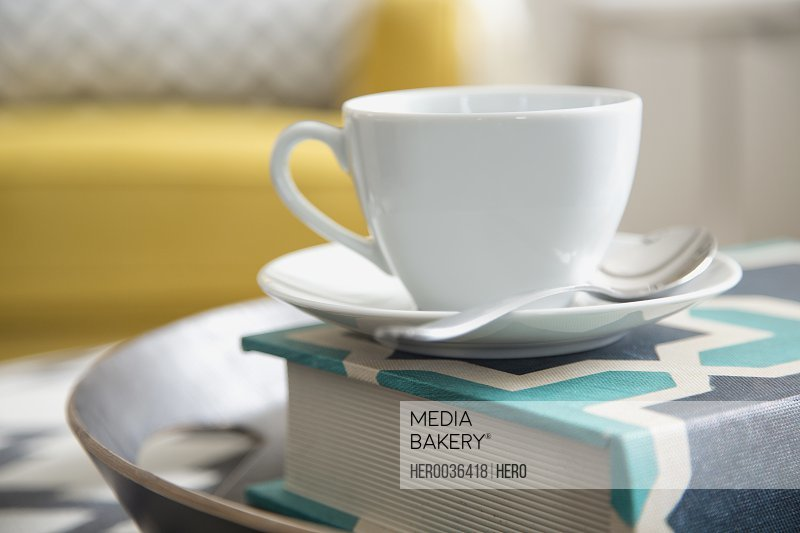 Cup and saucer on book at home