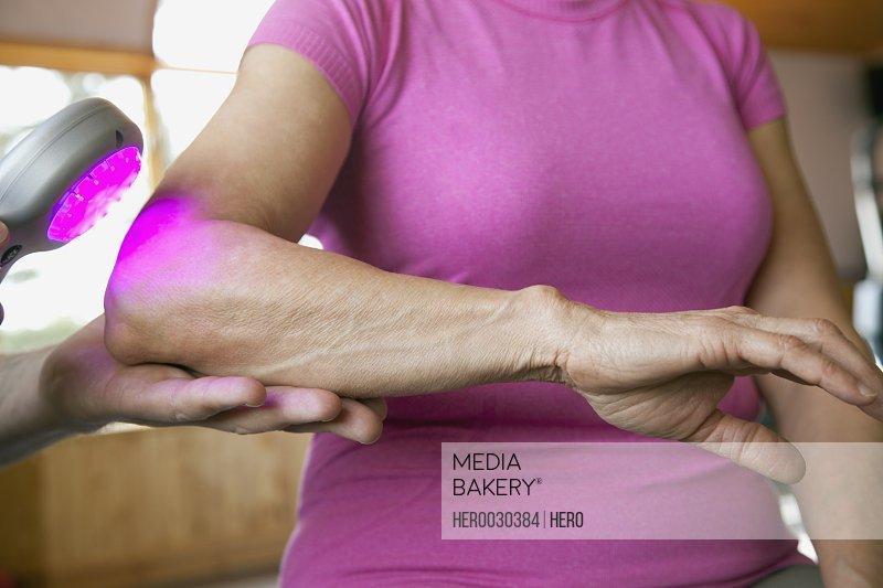 patient receiving low level laser treatment
