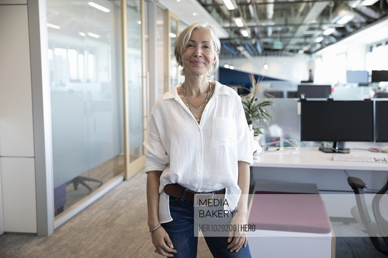 Portrait of cheerful senior businesswoman looking at camera and smiling