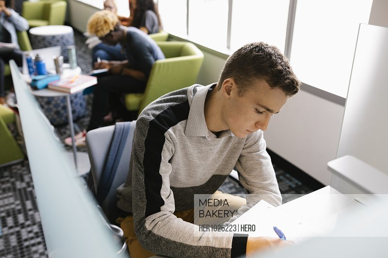 Student making notes in library and concentrating