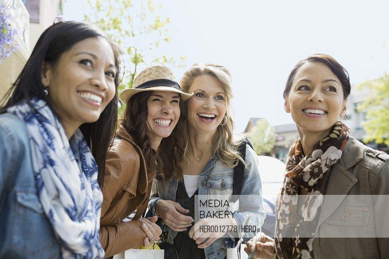 Women talking on village street