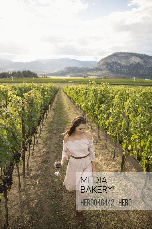 Woman wearing dress wine tasting in vineyard
