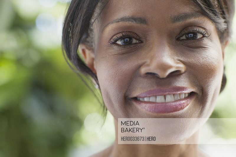 portrait of beautiful middle aged woman smiling