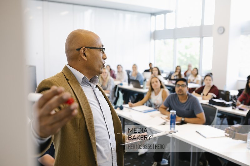 Male lecturer giving presentation to university students