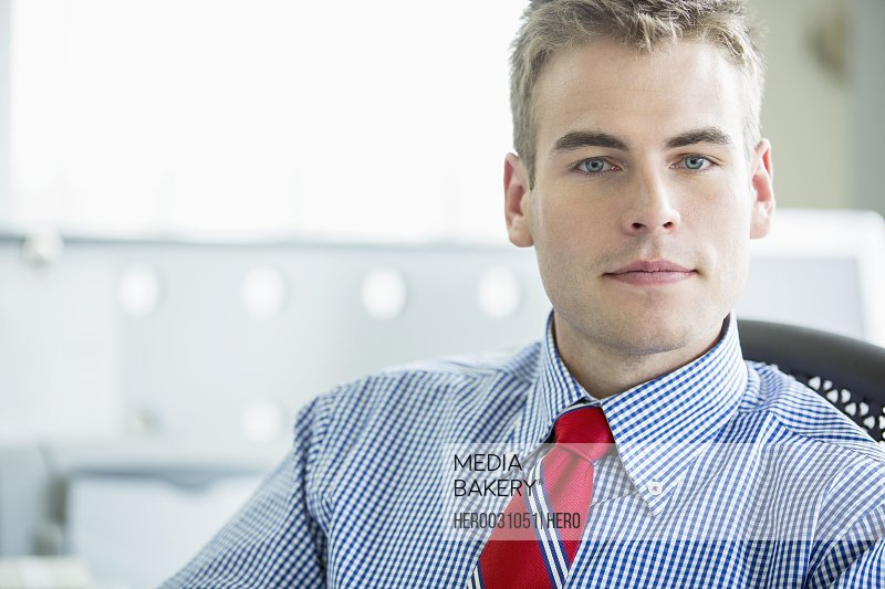 portrait of serious young adult businessman