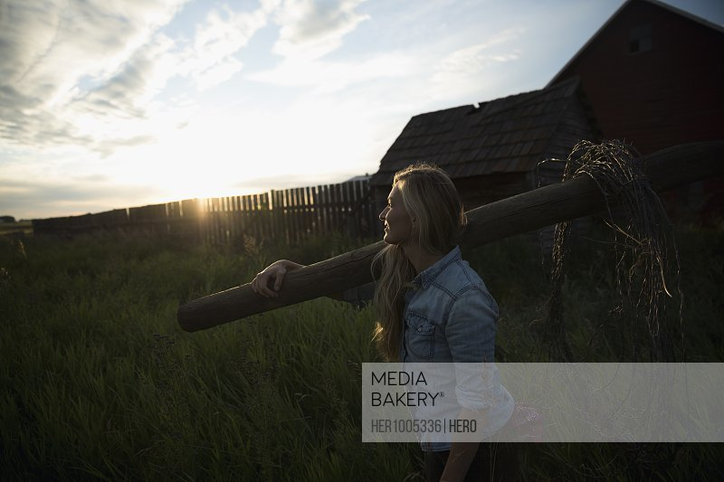 Young female farmer carrying fence post on farm at sunset