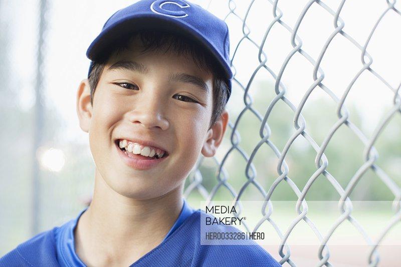 Portrait of twelve year old baseball player