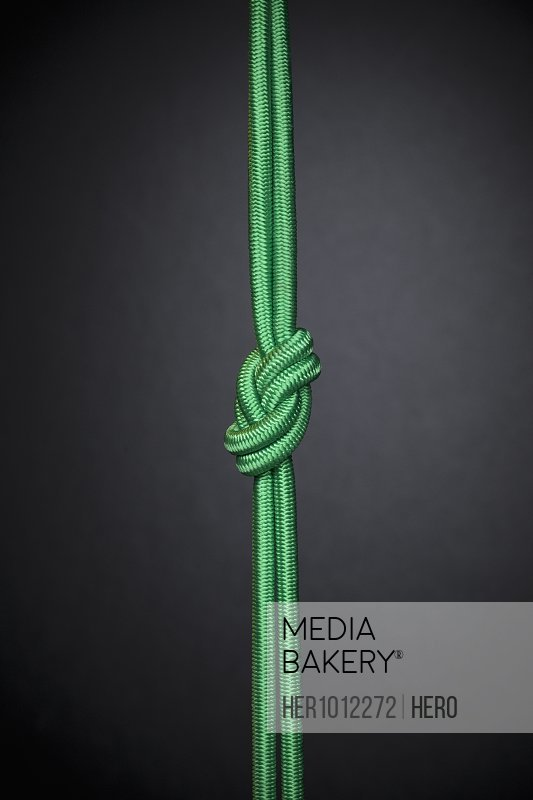 Green rope knotted