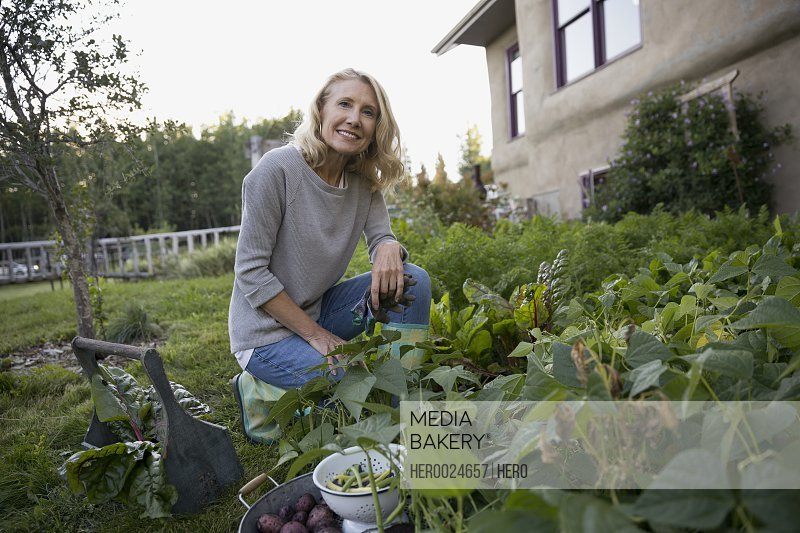 Portrait smiling woman harvesting vegetables in garden